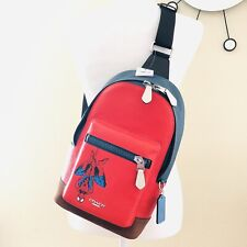 Coach Marvel Spider-Man West Sling Pack Red Leather Backpack NWT $350