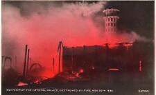 Crystal Palace destroyed by Fire Nov 30th 1936 unused RP old pc Valentines
