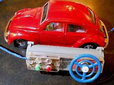 """BANDAI 1960'S VW 8"""" TIN REMOTE CONTROL w VISIBLE & LIT ENGINE, WORKS FINE, NICE!"""