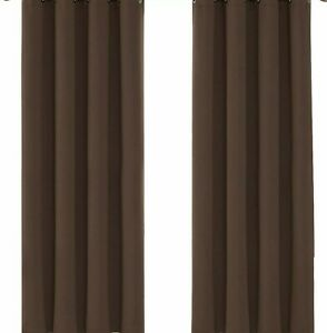 B&Q CHOCOLATE BROWN SLOT TOP TEXTURED SELF HEMMING CURTAINS 150X300cm 59X118 in