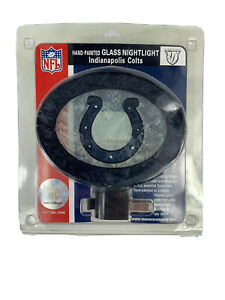 Hand Painted Indianapolis Colts Glass Night Light