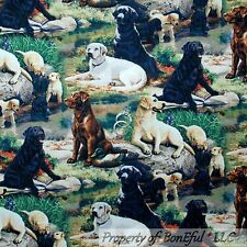 BonEful Fabric FQ Cotton Quilt Black Brown Dog Puppy Labrador Retriever Lab Rock