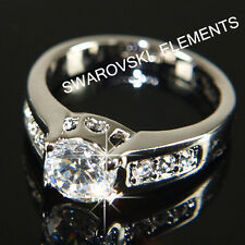 SALE White Gold Plated Ring made with Swarovski Crystal Valentine Size 7 R112