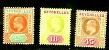 SEYCHELLES  KEVII 1906 ISSUES Sc# 52 57 59  WMK 3 MINT
