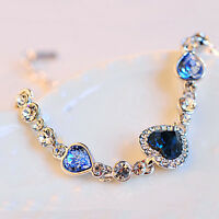 Fashion New Women Blue Crystal Rhinestone Heart Charm Bangle Bracelet Gift XJ