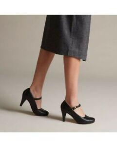Clarks Ladies Smart Helled Shoes DALIA MILLIE Black Leather UK 5/38 D