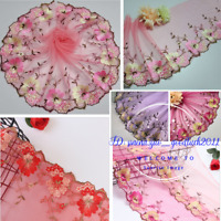 1 Yard Embroidered Floral Tulle Lace edge Trim Ribbon Fabric Sewing Crafts FL255