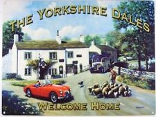 The Yorkshire Dales, Car, Country Village Scene Large Metal/Steel Wall Sign
