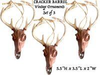 3 Cracker Barrel Christmas Tree Ornaments Holiday cuernos de venado Set Lot