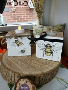 Reclaimed wood BEE Candle holder tealight ONE