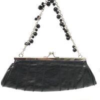 Vintage Black Evening Bag Kiss Lock Beaded Shoulder Clutch Bijoux Terner
