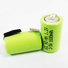 12 Pcs 2/3 A 1600mAh 1.2V Ni-Mh Rechargeable Battery W/ Tab With Tab
