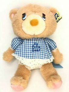 """Vintage Emotions My Cutie Bear Plush ORIG TAG Stuffed Toy Gingham Dress 12"""" 1983"""