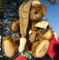 """VINTAGE TEDDY BEAR HERMANN SANTA 17"""" RARE MOHAIR CHRISTMAS W TAG 1999 GERMAN TOY"""