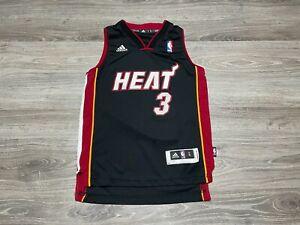 Dwyane Wade #3 Miami Heat NBA Black Adidas Sewn Swingman Jersey Youth Size Small