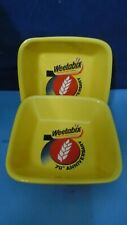 WEETABIX SQUARE CEREAL BOWLS VINTAGE PAIR GREAT CONDITION 70TH ANNIVERSARY VGC