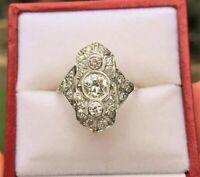 14K White Gold Over Vintage Art Deco 3.5Ct Round Diamond Antique Engagement Ring