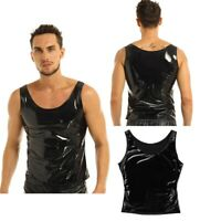 Men PVC Wet Look T-shirt Tank Tops Underwear Leather Singlet Undershirt Clubwear