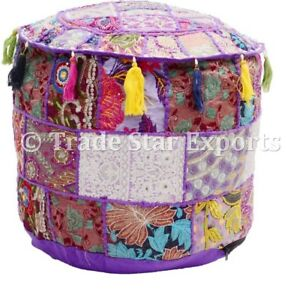 Handcrafted Patchwork Ottoman Pouf Cover Indian Vintage Embroidery Pouffe Cover