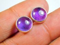 Gorgeous 925 Solid Sterling Silver Stud Earrings With Natural Amethyst 11x11MM