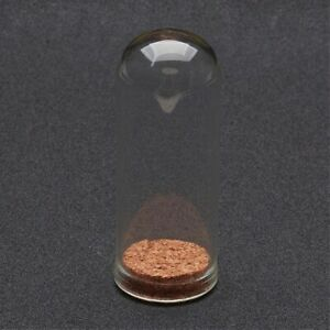 2 Glass 71.5x28mm Vial Domed Display Bottles with Cork. (A1C)