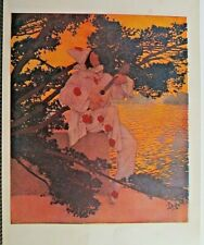 Maxfield Parrish, Pierrot's Serenade, Costume, Vintage 1908 Antique Art Print