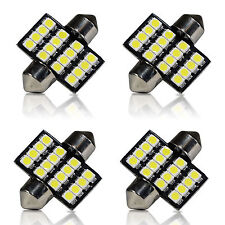 4 x 6000K White 16SMD LED Map/Dome Interior Lights Bulbs 31mm Festoon