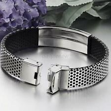 Silver Stainless Steel Jewelry Bangle Bracelet Leather Cuff Men's Wrist band Hot