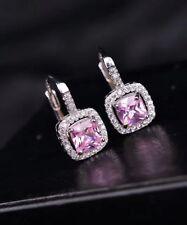 Noble Jewel Simulated Pink Diamond 925 Sterling Silver Hoop Earrings