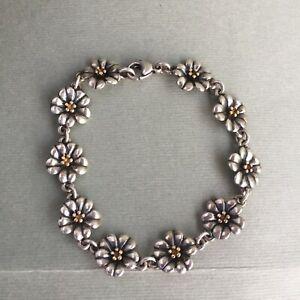 """James Avery Retired Sterling Silver 18K Gold April Flower Bracelet 7.5"""" Rare"""