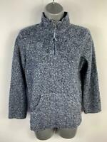 WOMEN NEXT BLUE FLEECE 1/4 ZIP FUNNEL NECK CASUAL JUMPER SWEATER PULLOVER SIZE12
