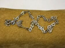 """Solid Fas Sterling Silver 925 Heart Link Anklet 10"""""""