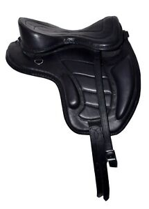"""NEW SOFT LEATHER TREELESS HORSE SADDLE BLACK COLOR SIZE FIT TO (16""""-17"""") SOFTY"""