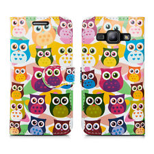 Flip Wallet Leather Case Cover for Samsung Galaxy Phone Screen Protector Multicolour Owl on Yellow J1