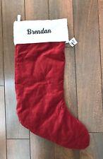 "POTTERY BARN VELVET STOCKING Red IVORY CUFF Christmas LARGE  ""Brendan""  NWT"
