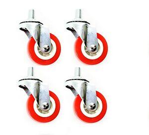 New SMALL 4 x Heavy Duty Rubber Swivel Castor Wheels Trolley Furniture - Screw