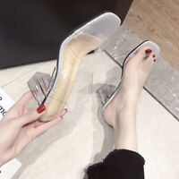 Ladies Clear Transparent BLING Block HIGH Heels Mules Sandals Shoes Slippers