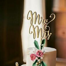 MR MRS wood cake topper Wedding Birthday Cake Insert card Decoration<