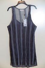 NWT Pretty Angel Clothing Apparel Gray Stripe Scoop-Neck Tank Top Dress Size L