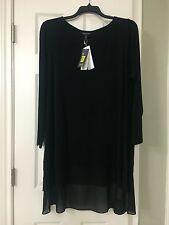 2X EILEEN FISHER Black Stretch Silk Jersey Plus Sheer Silk Hem Bateau Neck Tunic