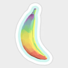 Low Poly Rainbow Banana Polygons Vinyl Decal Room Decor Sticker Silly Quote