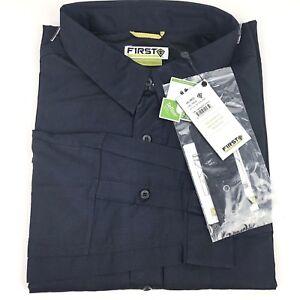 4XL First Tactical Shirt Long Sleeve Shirt Vented Water Resistant - Navy Blue