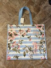 NWT HomeGoods Large Shopping Tote Bag ~ Blue Striped Floral  Foliage ~ Reusable