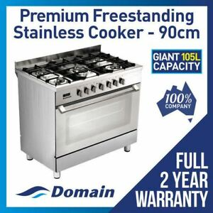 NEW DOMAIN 90cm/900mm FREESTANDING UPRIGHT ELECTRIC OVEN GAS HOBS STOVE COOKER