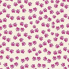 Cool Cats Pink little paw prints cotton print by the yard Windham