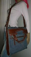 LUCKY BRAND Denim & Leather Abbey Road Crossbody Bag Handbag Shoulder Bag Purse