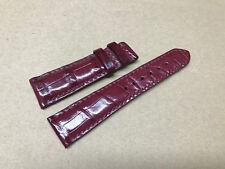 22mm/18mm Genuine  Alligator Crocodile Leather Watch Strap Band -Dark Bordeaux