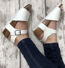 White Wedges Size 5 Leather Look Summer Holiday