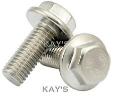 M8 FLANGED BOLTS FULLY THREADED FLANGE HEXAGON HEAD SCREWS A2 STAINLESS STEEL
