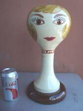 Stangl Blonde Female Head Wig Stand - Ceramic Base
